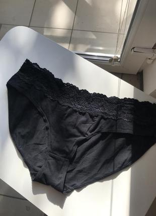 Чёрные трусики с ажурной вставкой george