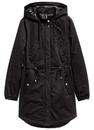 Черная парка куртка h&m хлопок стеганая демисезон