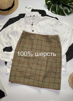 Крутая шерстяная юбка карандаш высокой посадки в клетку от 🖤 liz claiborne 🖤