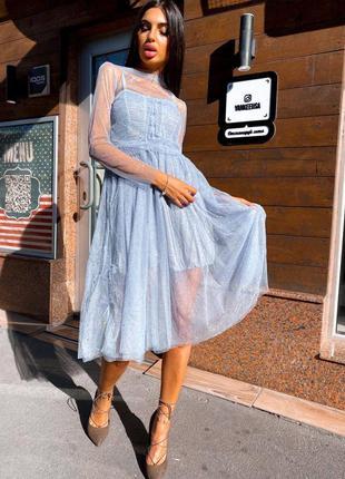 Голубое платье , платье со стразами