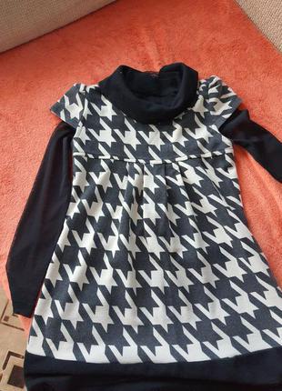 Платье детское хлопок черный с бежевым размер 152