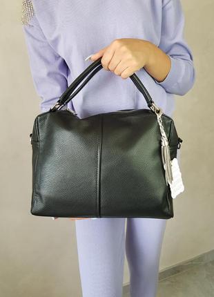 Сумка женская кожаная среднего размера, классическая кожаная сумка
