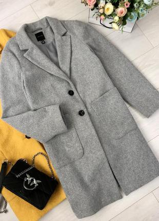Серое пальто new look, размер 14