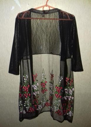 Стильный кардиган сетка с вышивкой