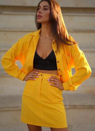 Стильный вельветовый желтый костюм двойка юбка и куртка оверсайз микровельвет