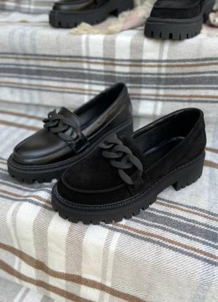 Туфли лоферы кожа замш