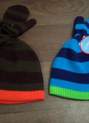 Демисезонный комплект ( шапка и варежки ) на мальчика 2-3 года