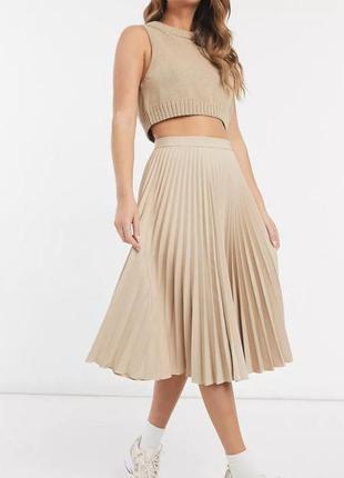 Нюдовая юбка-плиссе