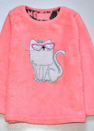 Primark мягенькая домашняя неоновая  кофточка с кошкой. 4-5 лет