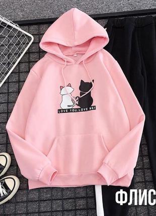 Худи на флисе коты love розовый