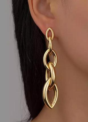 Серьги серёжки цепи в золоте гвоздики массивные