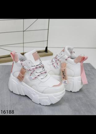 Белые кроссовки на танкетке сникерсы ботинки ботильоны