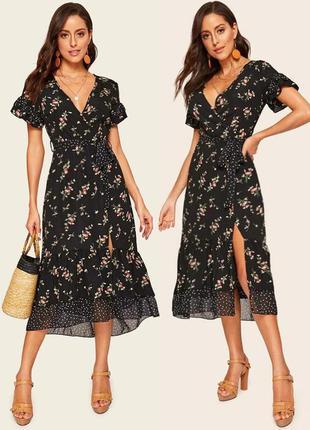 Распродажа платье shein миди на запах принт горох+ цветочный asos