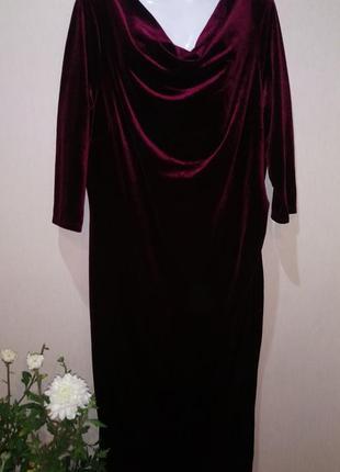 🌺 бархатное нарядное платье р.58 утяжка 🌺