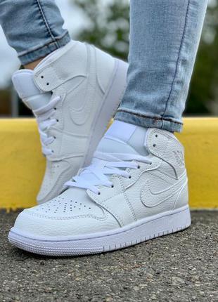 Кроссовки кеды nike air jordan 1 white кросівки кеди