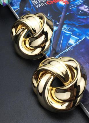 Винтажные серьги гвоздики для женщин массивные золотистого цвета