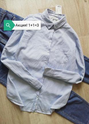 Базовая белая рубашка в голубую полоску, сорочка, блузка, рубашка свободного кроя, рубашка оверсайз