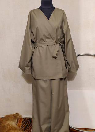 Брюки палаццо + жакет кимоно костюм