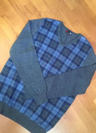 Кофта джемпер пуловер шерстяной в клетку