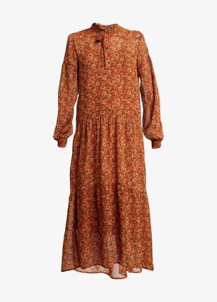 Нежное  шифоновое платье миди zara h&m
