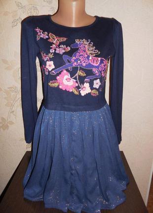 Платье * monsoon* рисунок вышивка+ украшен паеточками, 11-12 лет