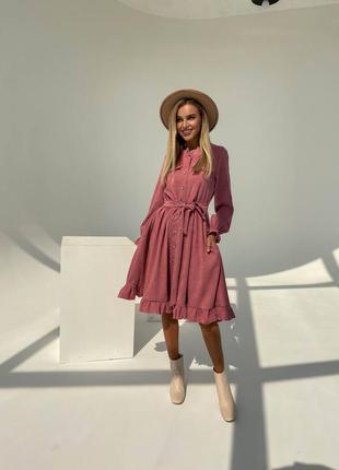 Вельветовое миди платье на пуговицах бордо пудра оливка