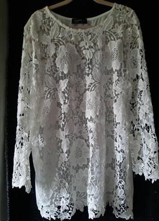 Женская кружевная блуза, блузка с кружевом 54-56р.