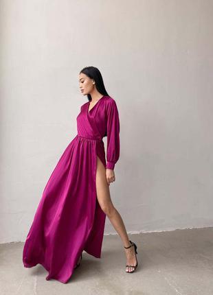 Шелковое макси платье с запахом на груди в пол разрез на ноге б