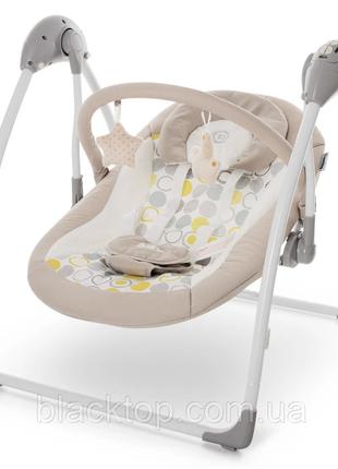 Детский шезлонг качель для новорожденных с пультом бежевый el camino me 1047 airy beige детское крес