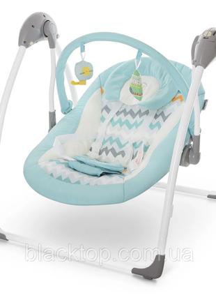 Детский шезлонг качель для новорожденных с пультом голубой el camino me 1047 airy mint детское кресл