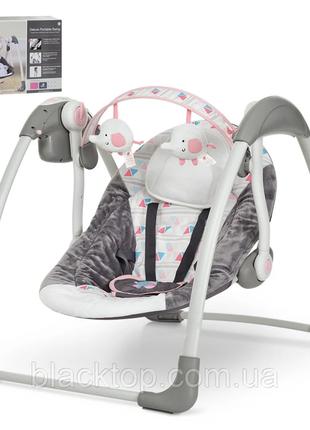 Детский шезлонг качель для новорожденных bambi 6504 детское музыкальное кресло качель для малышей