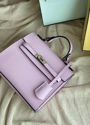 Лиловая женская сумка кожзам кросс боди с ключиком
