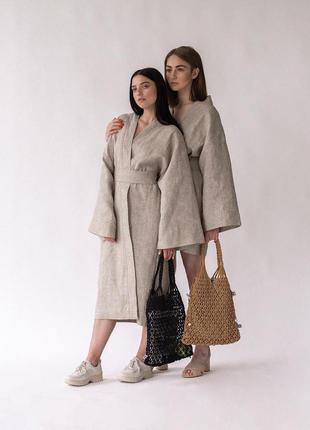 Льняной костюм брюки + кимоно лён платье