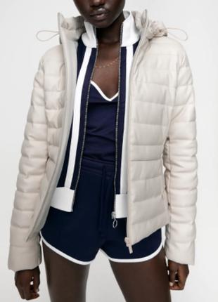 Кожа новая женская куртка zara xs s м жіноча куртка zara 42 44 46