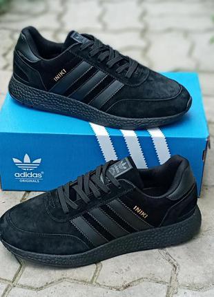 Женские кроссовки adidas iniki черные, замшевые, осенние