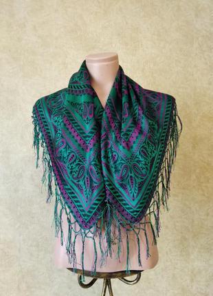 Шелковый платок с бахромой, красивый платок из шелка, 100% шелк, зеленый платок