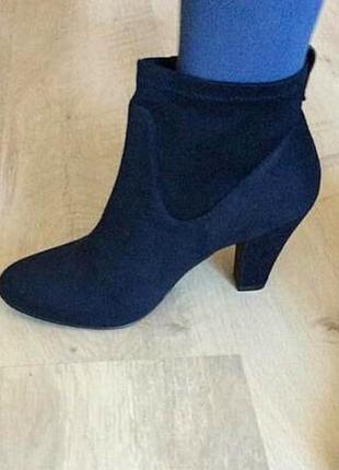 Новые темно-синие замшевые полусапоги, ботинки деми,р.39