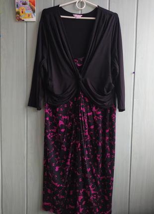Стильное красивое платье миди большого размера 22uk