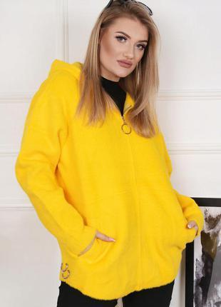 Кардиган альпака тёплая вязаная кофта женская полупальто демисезонное