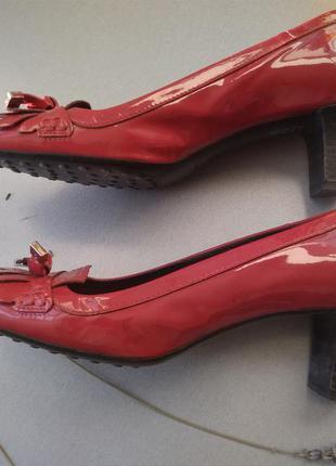 Туфли лодочки, италия, tod's, красные, средний каблук