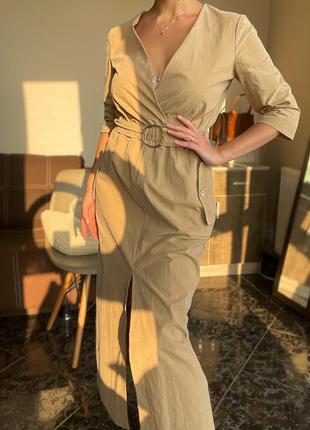 Хлопковое платье с разрезом спереди zara