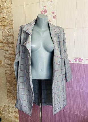 Кардиган клетчатая накидка распашная пиджак