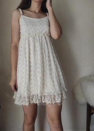 Платье / белое платье / ажурное платье / платье pinky
