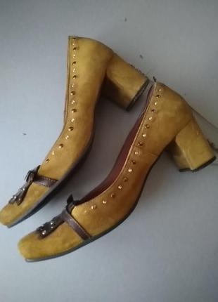 Туфли, janet & janet, италия, замша, горчичный, широкий средний каблук