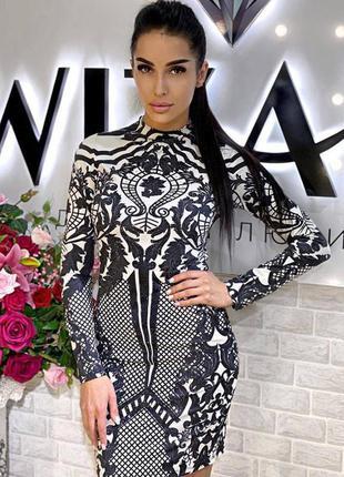 Платье белое чёрное со стразами