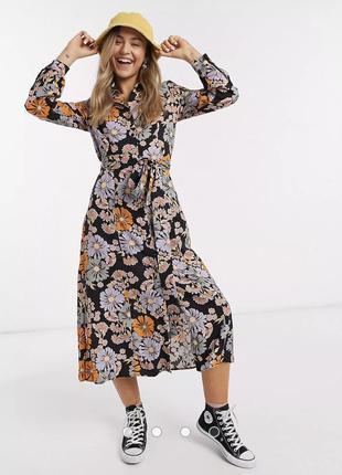 Роскошное платье рубашка в цветочный принт monki