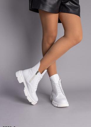 Ботинки демисезонные зимние женские белые кожаные на шнурках и боковой молнии