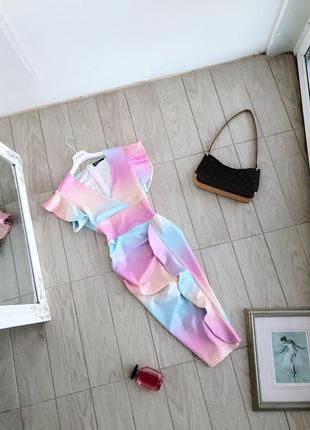 Платье миди разноцветное платье сукня