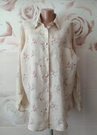 Льняная блуза рубашка винтаж