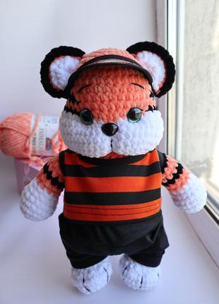 Тигр амигуруми тигрёнок вязаный в костюмчике